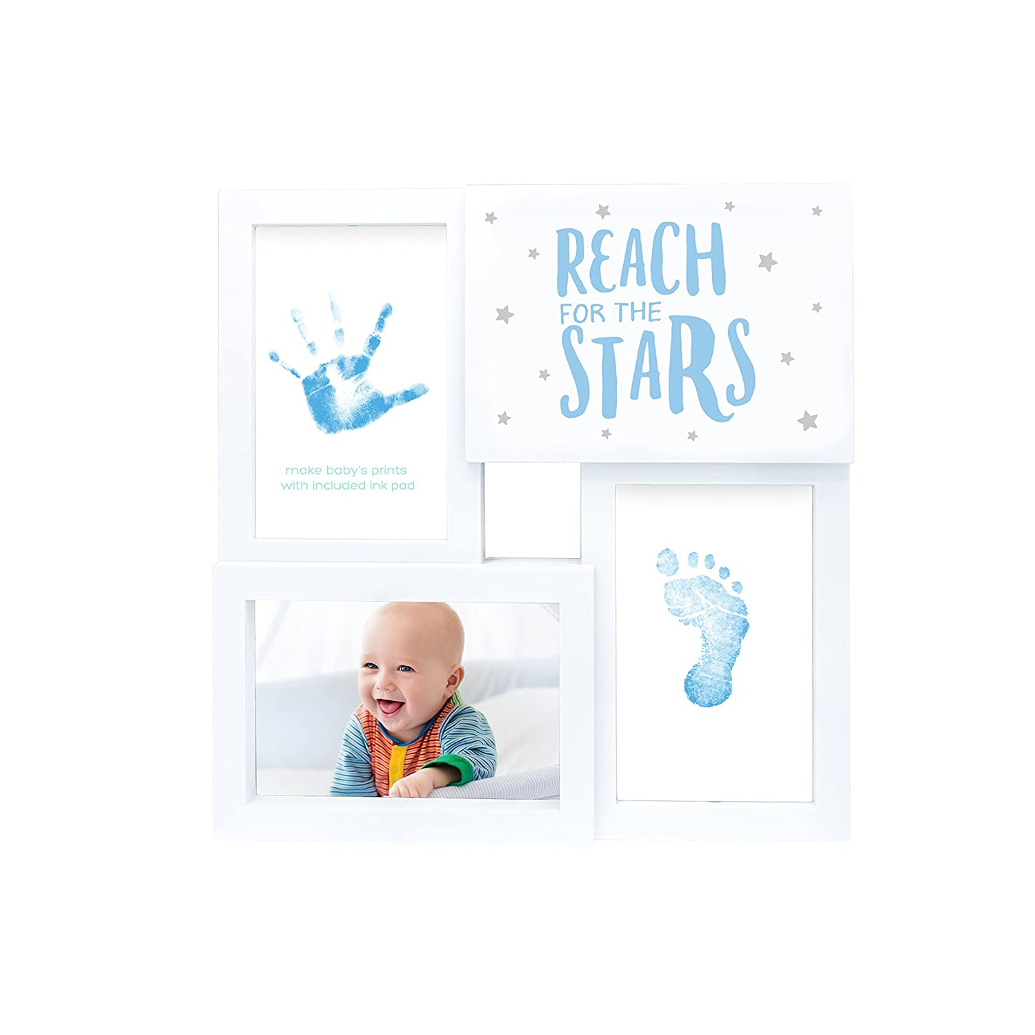 CDM product Tiny Ideas Baby Prints Collage Keepsake Frame with Included Ink Pad, Reach for The Stars, Blue/White big image