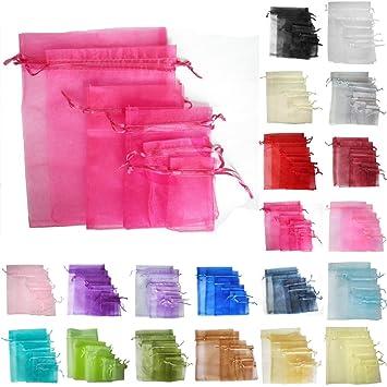 TtS 100PCS 20x30cm Bolsas de Organza Bolsas Regalo Lujo Joyas Fiesta Boda Candy Favor Decoración (Rosa Hot)