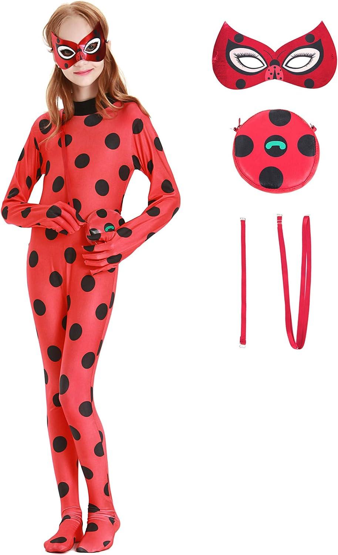 Maschera Multicolore YONIER Costume Classico Ladybug -Costume S,M,L,XL Piccola Borsa Costume per Bambini