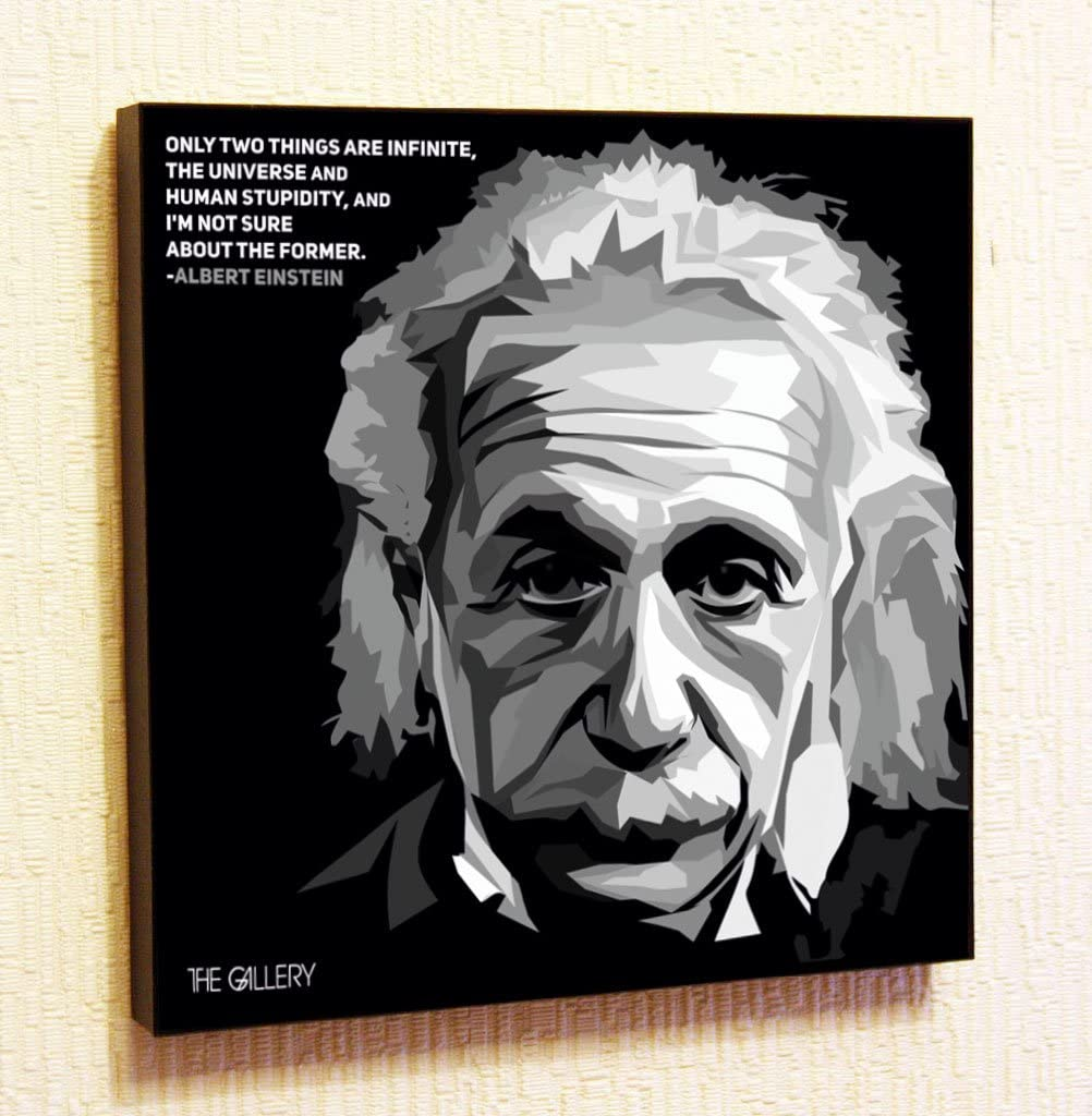Albert Einstein Motivational Quotes Wall Decals Pop Art Gifts Portrait Framed Famous Paintings on Acrylic Canvas Poster Prints Artwork Geek (10x10
