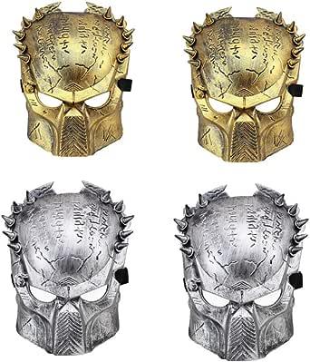 Linjin 4 máscaras de Guerrero Ron Warrior, máscara de Disfraz de Lobo Solitario, máscara de Terror de Halloween (Dorado, Plateado)