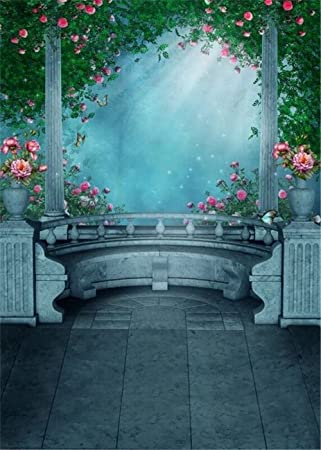 Moonlight Through Vintage Pavilion Pink Flowers Garden Backgrounds Green Leaves Floral Scenic Photography Backdrops Outdoor Fantasy