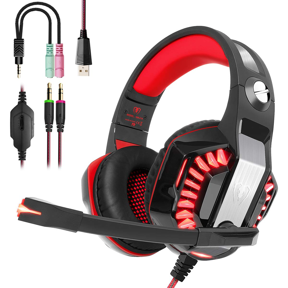PS4 Gaming Headset, Beexcellent Xbox One Headset 3D Stereo Surround with Noise Canceling Mic, Large Ultra-Comfortable Earmuffs with LED Light for Nintendo Switch, PC, Laptop, Tablet