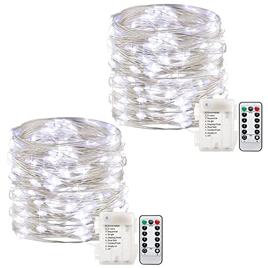 AndThere 2 PCS Battery Powered String Lights 100 LED 8 Modes