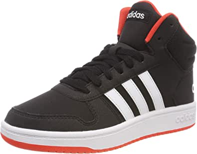 adidas Boys Hoops Mid 2.0 Trainers, Core Black/Footwear White/Hi-Res Red