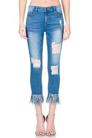 165145d23ce Cello Jeans Mid Rise Fringe Hem Crop Skinny at Amazon Women s Jeans ...