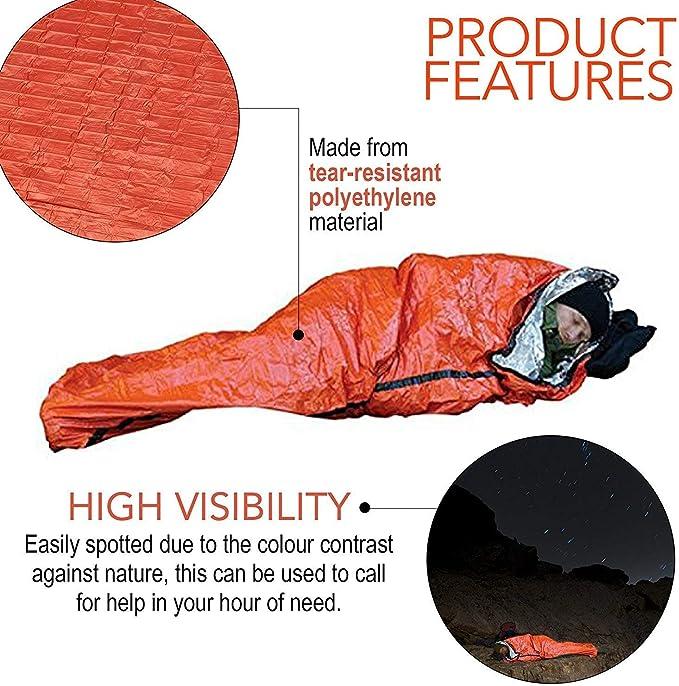 Survivor Series Sac de Couchage durgence Multi-Fonction de Survie en Aluminium Blanket Sac de Couchage Orange 1pc