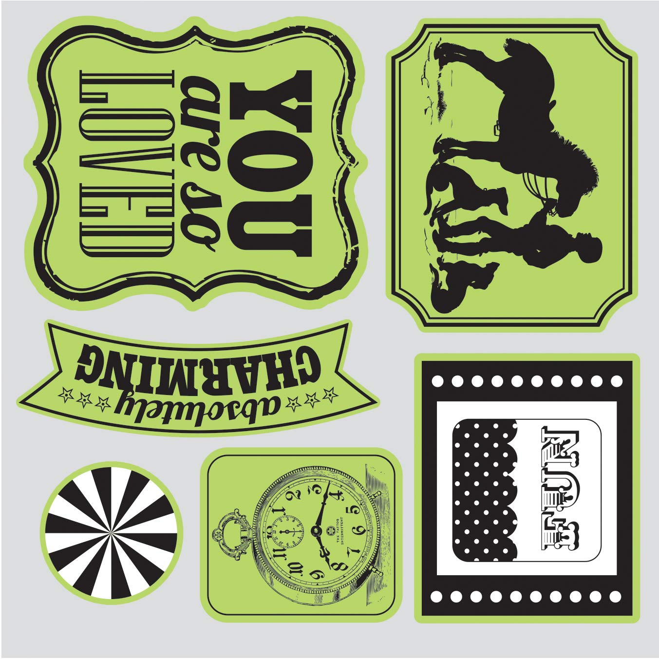 Sizzix Echo Park Framelits Die Cutting Template and Clear Acrylic Stamp Set This and That Charming (8 Pack)