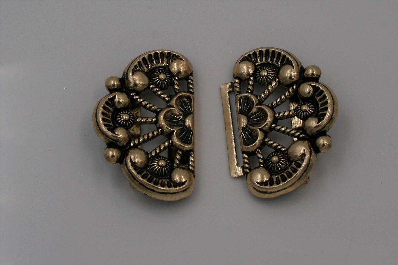gold altgold Trachtenschliesse Sch/ürze Dirndl Tracht Schlie/ße Schnalle Metall 59mmx29mm made in Germany 1 St/ück
