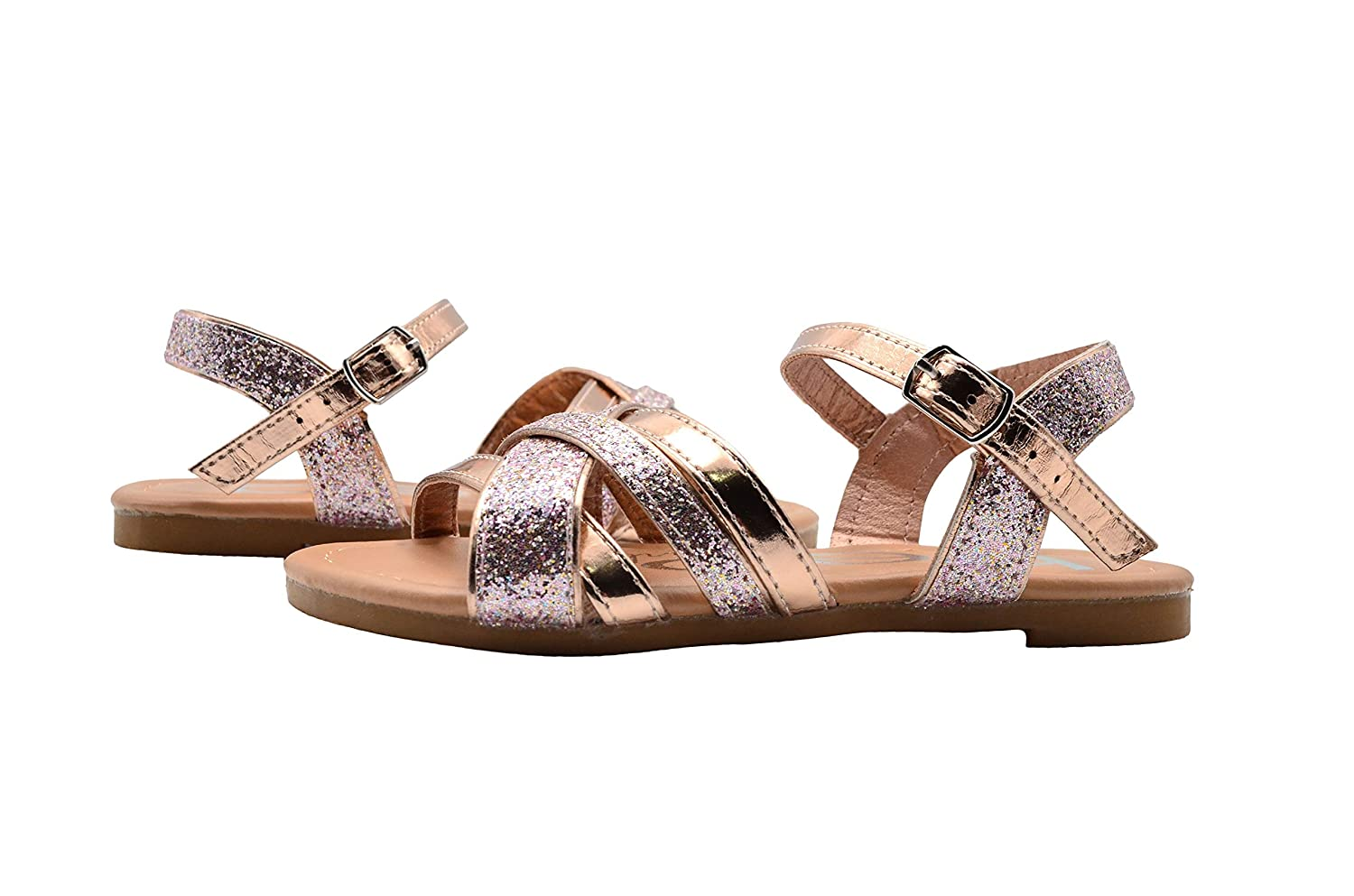 bebe Girls Fashion Sandals Multi Strap Summer Flats with Glitter