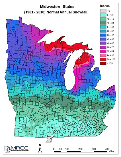 Amazoncom Laminated Map How Much Does It Snow Map Us Snowfall - Map-of-us-snowfall