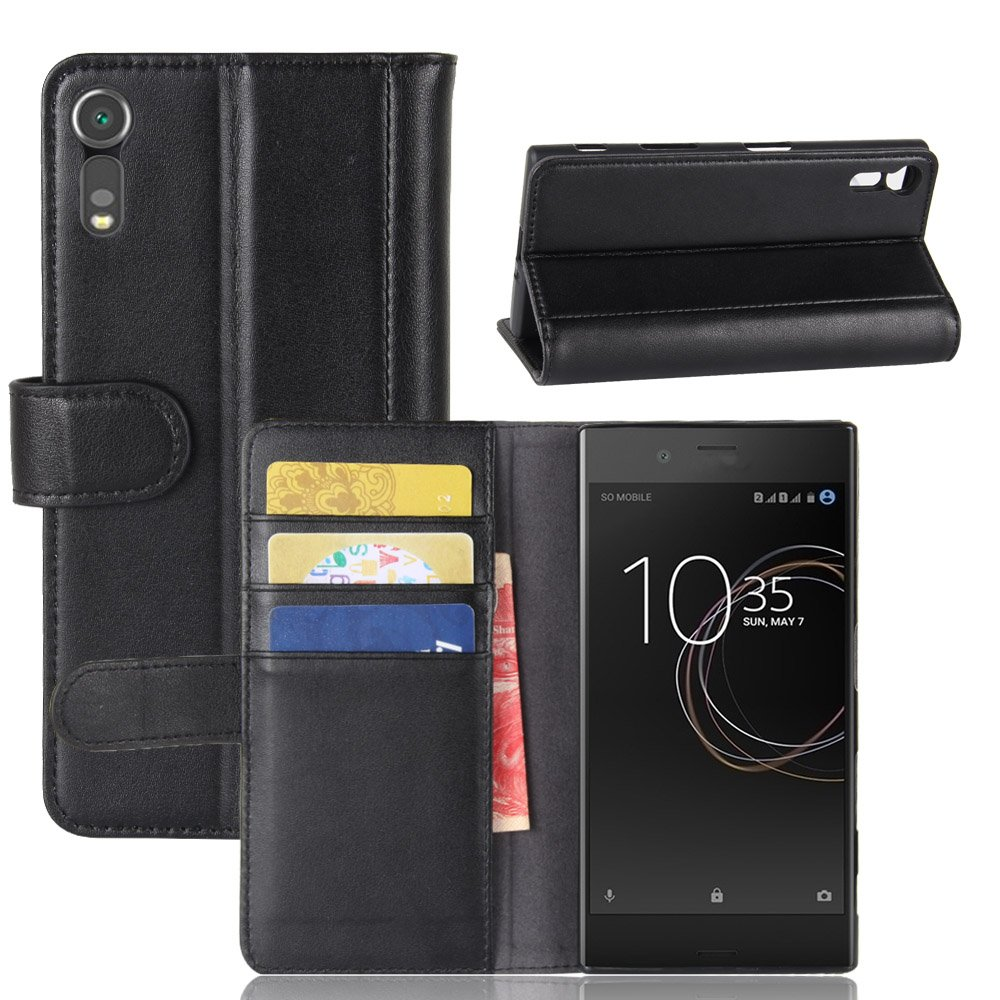 Scheam Sony Xperia XZ Case, Sony Xperia XZ Wallet Case,Flip Case, Premium Slim Leather Wallet Back Case with Credit Card ID Holder Protective Case Compatible with Sony Xperia XZ,Black