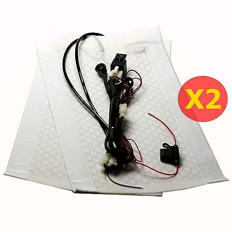 Amazon.com: 2 Sets Car Seat Heater Kits, Carbon Fiber Heat Pads, DC ...
