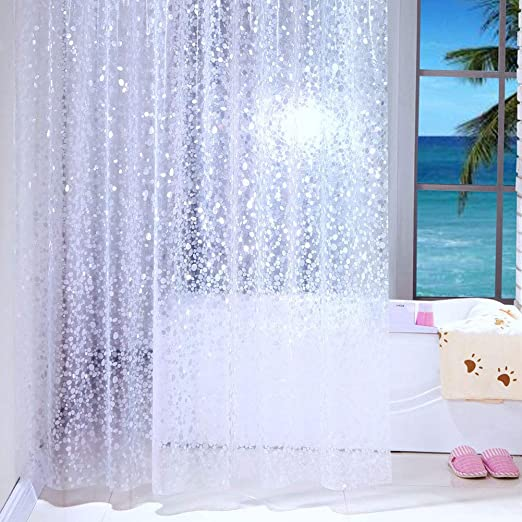 12Hooks Waterproof Shower Curtain Bathroom Liners PEVA Plastic Decor 180cmx180cm