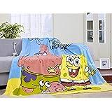 Blaze Children's Cartoon Printing Blanket Coral Fleece Blanket (28 By 40 Inch, SpongeBob)