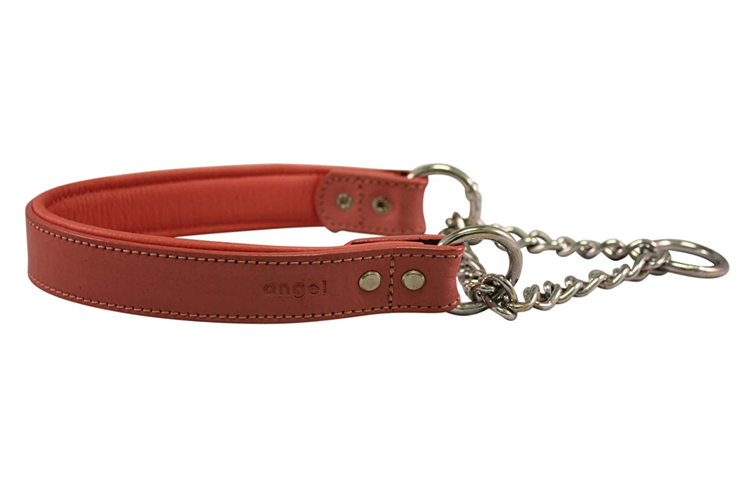 Leather Martingale Dog Collar Choker 18x1 (23.5 Fully Extended) Pink Leather (Rio) with Stainless Steel. Read Description for Correct Sizing