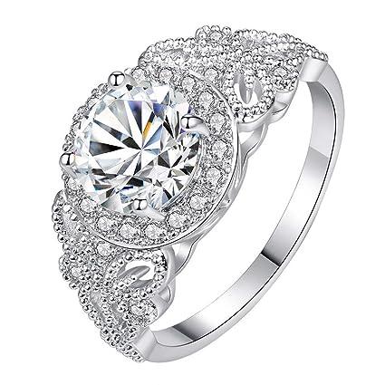 fffc03640e06e Amazon.com : Ladies Couple Ring Micro Inlaid Zircon Pattern Jewelry ...