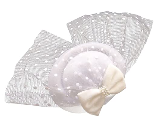 Vintage Inspired Wedding Accessories Womens Fascinators Hat Pillbox Hat Cocktail Party Hat with Dot Veil Bowknot Hair Clip $8.89 AT vintagedancer.com