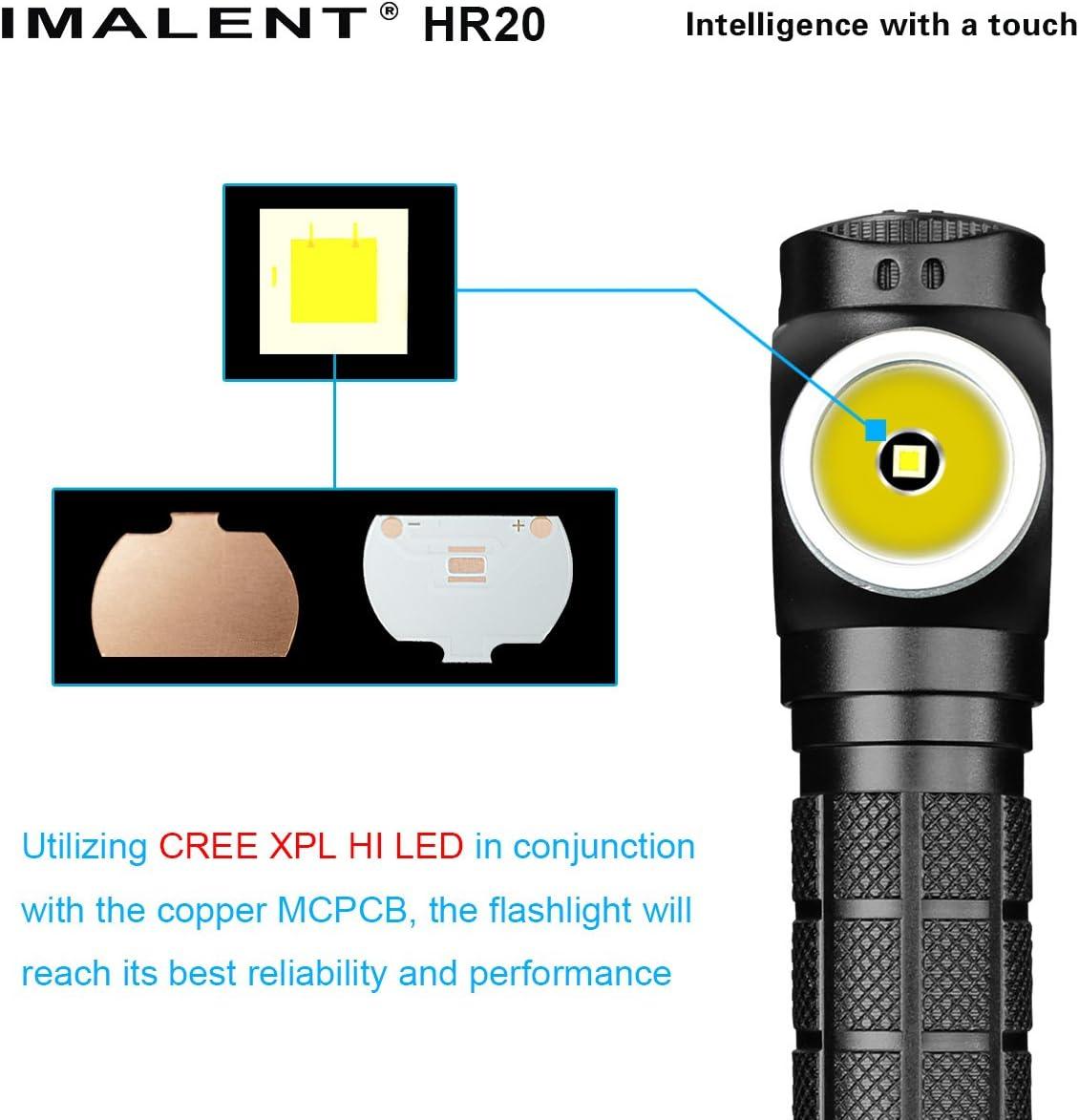 Imalent HR20 Cree XPL HI LED USB Rechargeable Headlamp Flashlight Torch