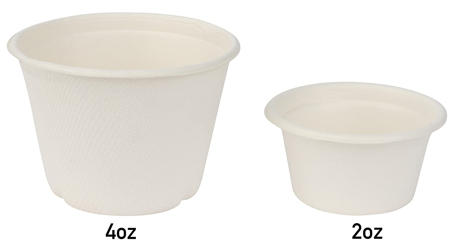 Biodegradable and Recyclable Eco Friendly Alternative to Paper and Plastic, Brheez Portion Souffle Bagasse Cups Compostable Perfect for Condiments and Samples 2 oz Cups Package of 100