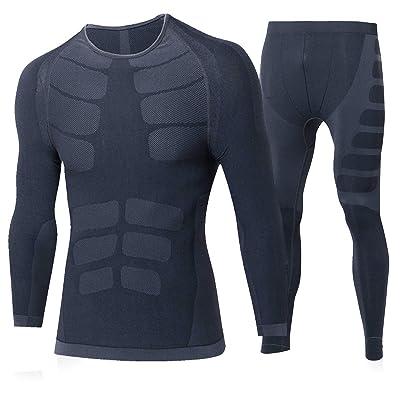 MingDe Men's Dry Fit Athletic Compression Long Sleeve T Shirts + Pants 2 Pack Set