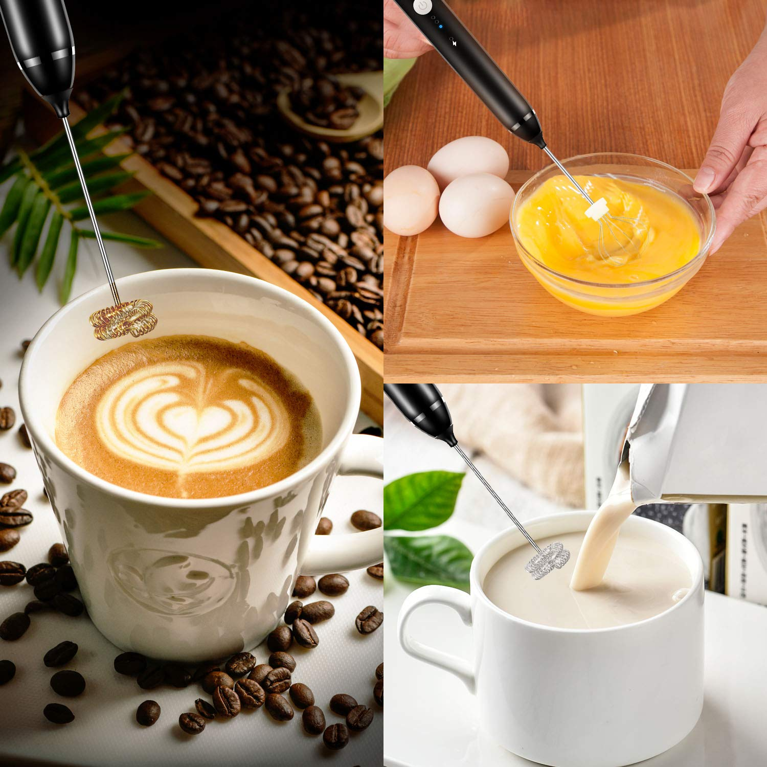Milk Frother Handheld, USB Rechargeable Electric Frother with 2 Stainless Whisks, 3-Speed Adjustable Mini Durable Drink Egg Blender, Professional Foam Maker for Coffee, Lattes, Cappuccino, Hot Chocolate by Kitdine (Image #8)