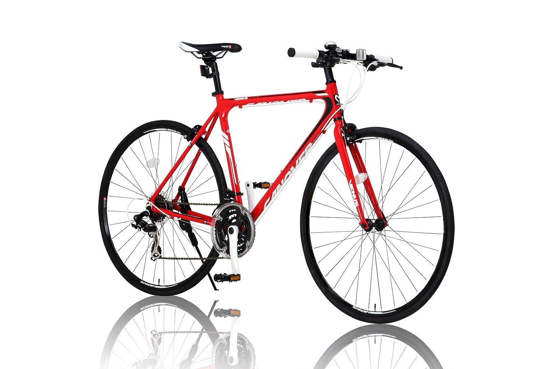 CANOVER(カノーバー)クロスバイク 700C シマノ21段変速 CAC-021 (VENUS) 特殊加工 アルミフレーム フロントLEDライト付 B012CCL0J8レッド