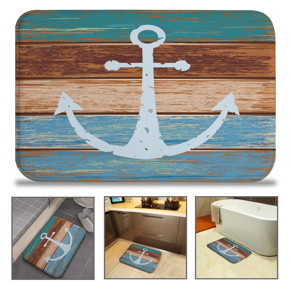 QIYI Bath Mat Rug Super Soft Non-Slip Machine Washable Quickly Drying Antibacterial,for Office Door Mat,Kitchen Dining Living Hallway Bathroom 16''x24''-Wood Anchor