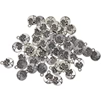 MagiDeal Wholesale Bulk Lots 50 Pieces Alloy Tibetan Silver Plated Tree of life Charms Pendants Spacer Beads for Jewelry Making DIY Handmade Craft Supplies, 15x11.5mm