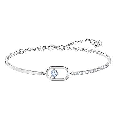 Bracelet arbore une pierre bleue ronde étincelante qui se déplace