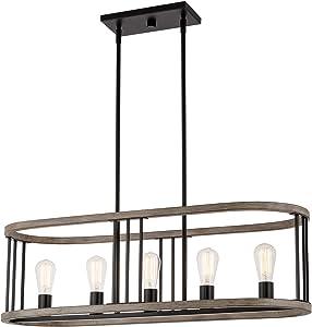 "Kira Home Hartford 35"" 5-Light Farmhouse Kitchen Island Light + Linear Oval Frame, Light Cedar Wood Style + Black Finish"