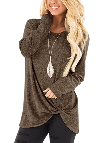 3fefad8096 YOINS Women Top Crossed Front Design Round Neck Long Sleeves Loose Fit T- Shirts Brown
