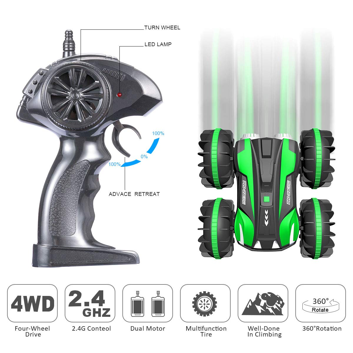Remote Control Car Boat Truck 4WD 6CH 2.4Ghz Land Water 2 in 1 RC Toy Car Multifunction Waterproof Stunt 1:16 Remote Vehicle with Rotate 360 Electric Car Toy by FREE TO FLY by FREE TO FLY (Image #5)