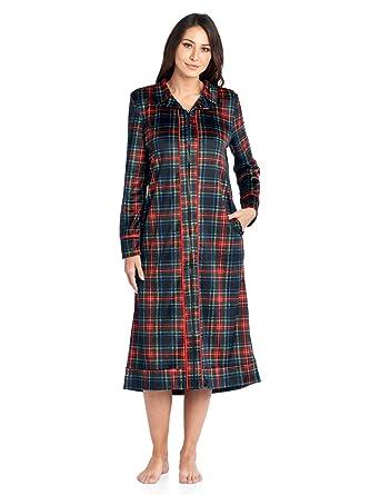 d3397d58ce Ashford   Brooks Women s Long Zip Up Mink Fleece Lounger Robe - Black  Stewart Plaid -