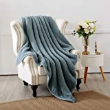"Panku Double Layer Sherpa Throw Blanket for Bedding or Couch (60""x70"", Baby Blue)"