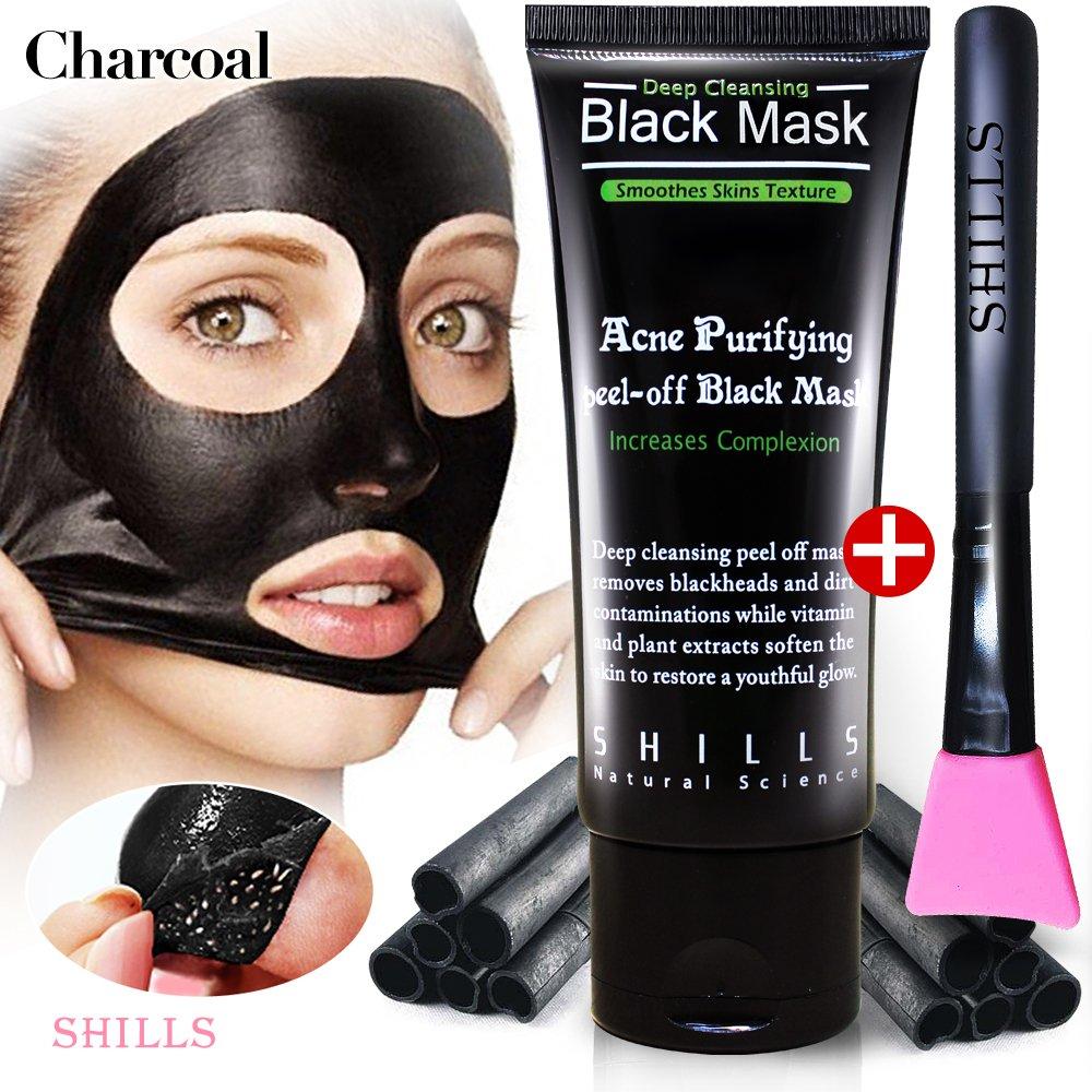 SHILLS Black Mask, Charcoal Peel Off Mask, Peel Off Mask, Charcoal Deep Pore Cleansing Mask, Blackhead Remover Peel Off, Blackhead Purifying Peel Off Mask and Brush Set by SHILLS (Image #1)