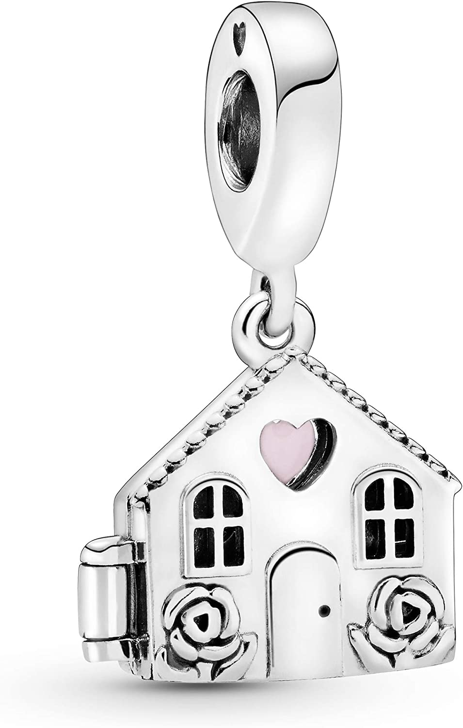 Pandora Jewelry House Silver Dangle With Pink Enamel Sterling Silver Charm