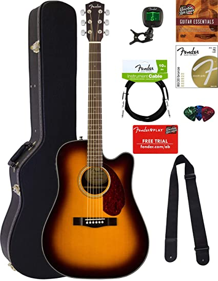 Fender CD-140SCE Dreadnought Acoustic-Electric Guitar - Sunburst Bundle with Hard Case,