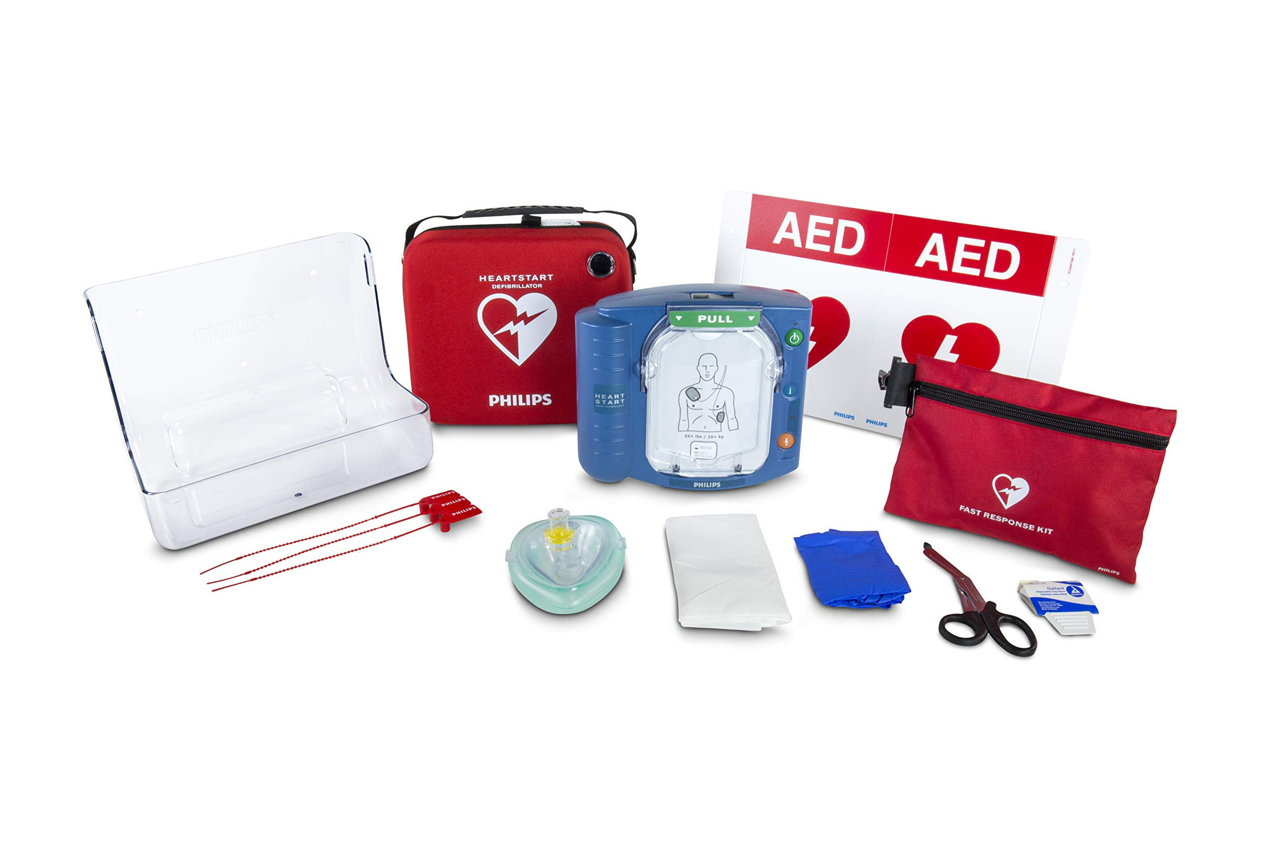 Philips HeartStart OnSite AED Defibrillator Value Package with Slim Carry Case, AED Wall Sign, Fast Response Kit and AED Wall Mount by HeartStart