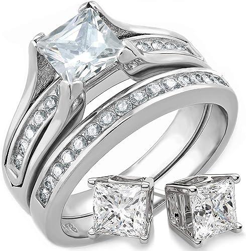 STUNNING PRINCESS CUT CZ STAINLESS STEEL WEDDING RING SET WOMEN/'S SIZE 5-11