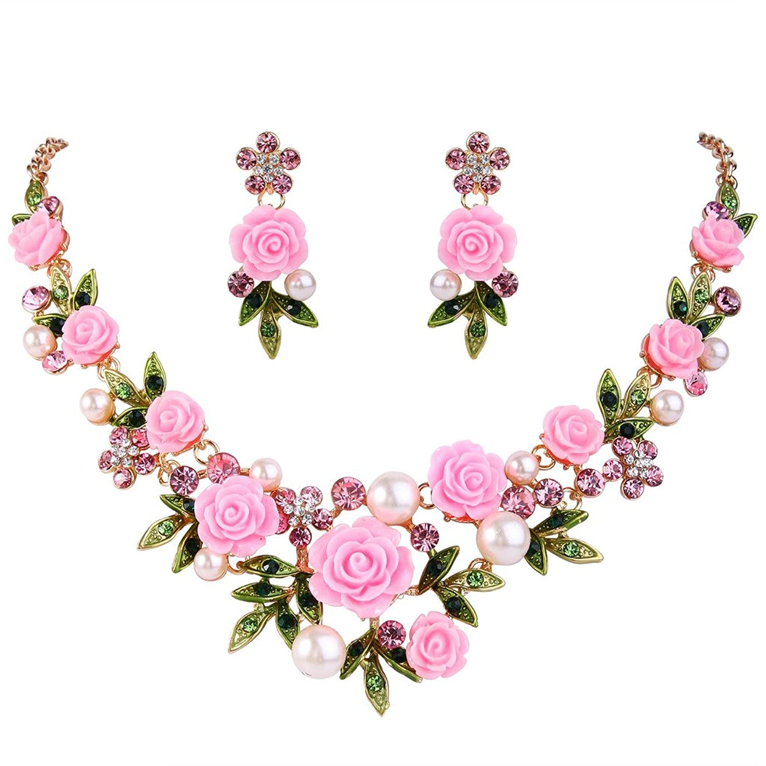 Women's Vintage Hats | Old Fashioned Hats | Retro Hats EVER FAITH Womens Austrian Crystal Simulated Pearl Rose Flower Leaf Necklace Earrings Set $22.99 AT vintagedancer.com