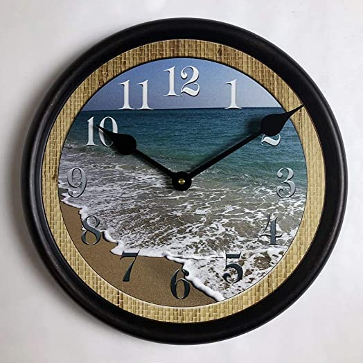 Beach Wall Clock, Available in 8 Sizes, Most Sizes Ship The Next Business Day, Whisper Quiet.