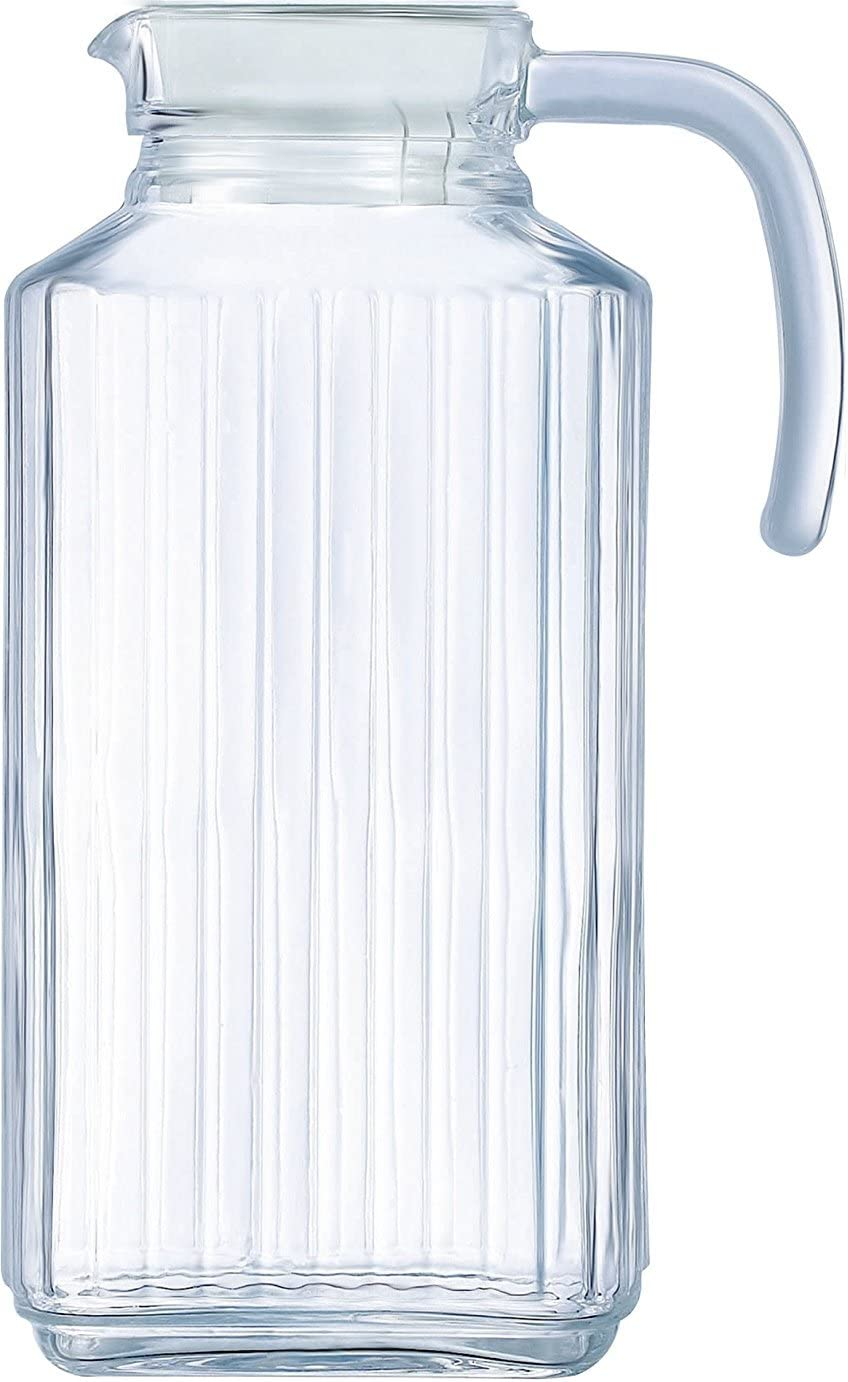 Circleware Frigo Glass Pitcher with Lid and Handle, Large 8 Cup Everyday Water Carafe Beverage Dispenser Glassware for Beer, Wine Liquor & Kitchen Drinking Gifts, 63.4 ounce, Ribbed