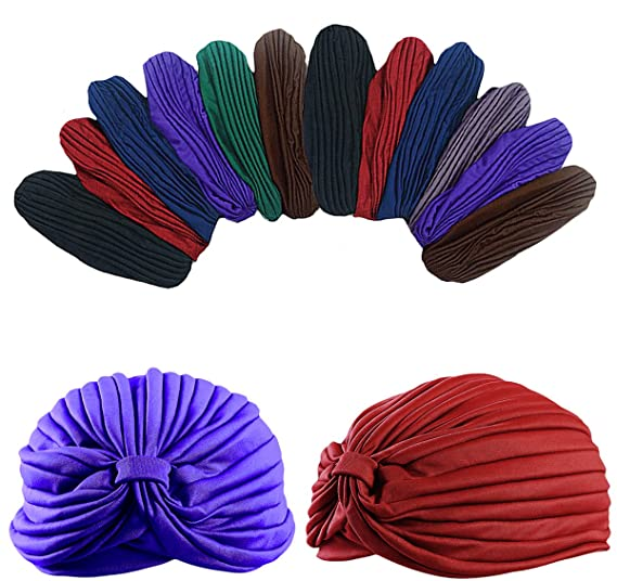 Dozen Pack- 12 Perfect Fit Dark Colored Beautiful Turbans