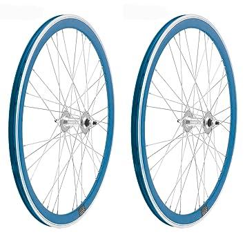 ONOGAL 2x Llanta Rueda para Bicicleta Fixed Fixied de 700 Aluminio CNC MECANIZADO Piñon Fijo Color AZUL 3750azul: Amazon.es: Deportes y aire libre