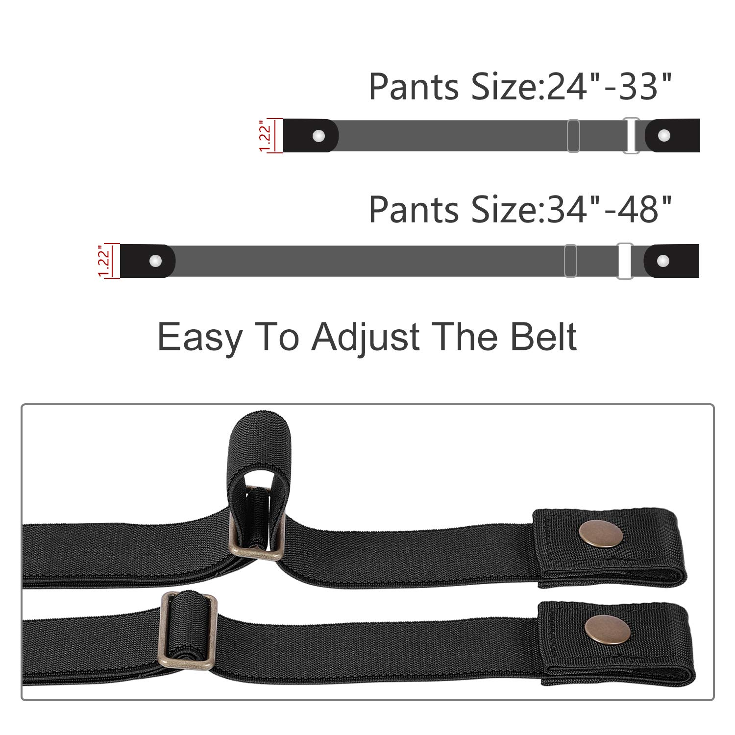 WERFORU Buckle-Free Women No Buckle Invisible Fabric Stretch Belt For Jeans, Black, Large(Pants Size 34-48 Inches)