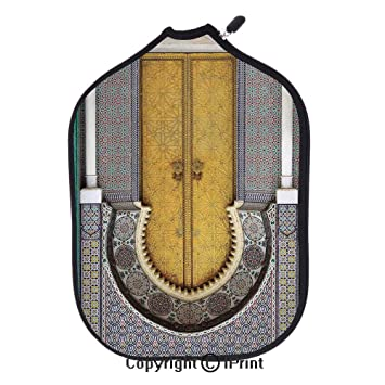 Lightweight Neoprene Single Pickleball Paddle Cover,Golden Door of Royal Palace in FES Morocco Vintage
