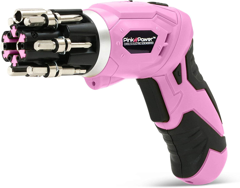 Pink Power - Destornillador eléctrico inalámbrico recargable de 3 ...