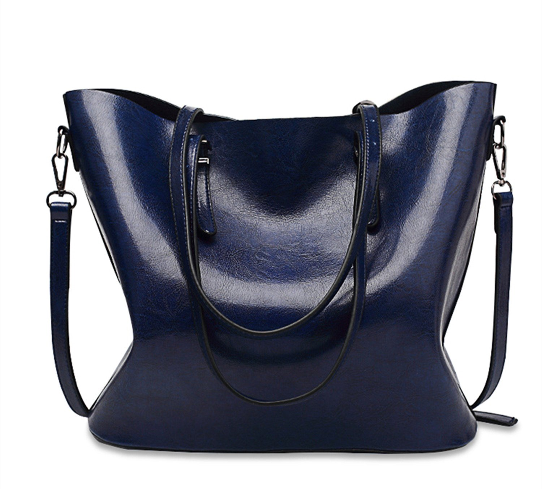 SIFINI Women Handbags Fashion Handbags Simple PU Leather Shoulder Bags Messenger Tote Bags (dark blue) by SIFINI