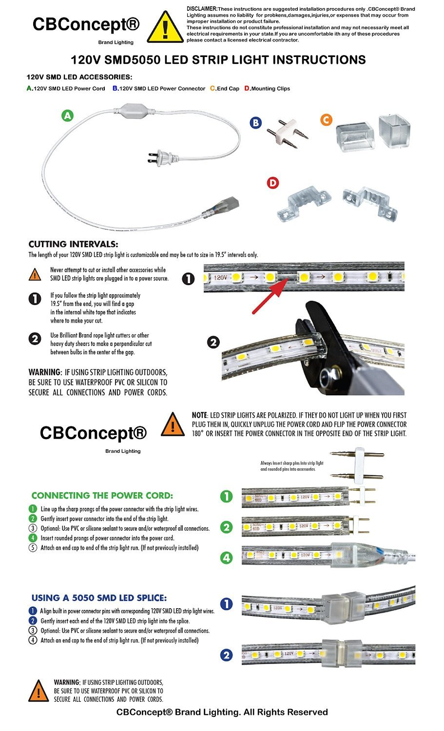 CBconcept UL Listed, 6.6 Feet, 720 Lumen, 3000K Warm White, Dimmable, 110-120V AC Flexible Flat LED Strip Rope Light, 120 Units 3528 SMD LEDs, Indoor/Outdoor Use, Accessories Included, [Ready to use] by CBconcept (Image #5)